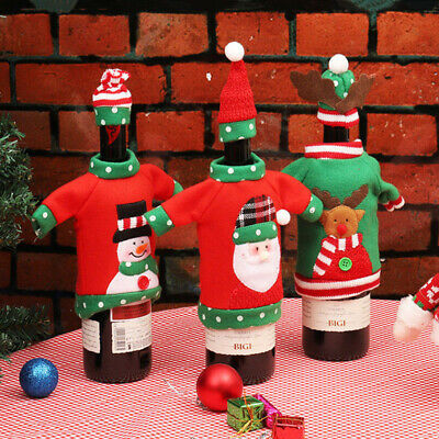 Dinner Table Xmas Elk Bottle Cover Office Products Unisex Sweater Red Wine Bags