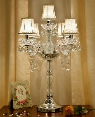 """New 19""""x30"""" Clear Glass Crystal Table Lamp Table Light Desk Light Chandelier"""