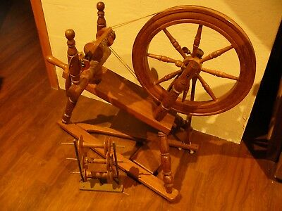spinning wheel with three extra spools, hand made in black bean timber