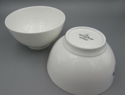 Villeroy & Boch China ROYAL White Footed Cereal / All Purpose Bowl - Set of Two