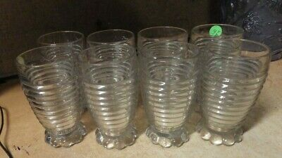 LOT OF 8 Vintage Imperial Candlewick Clear Hobnail Tumbler Glasses BEEHIVE RIGID