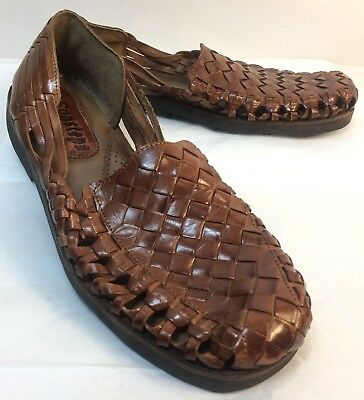 baba4d627b4 SUNSTEPS mens 11.5 handwoven brown leather huaraches slip on rubber sole  sandals