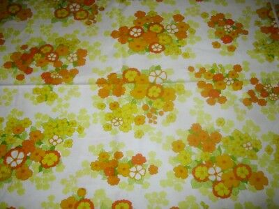 Vintage Fabric/remnant~Bright Orange/yellow Floral~Polished Cotton~3 +1/2 Metres