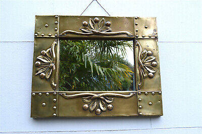 Superb Arts and Crafts wall mirror hand made from brass circa.1913