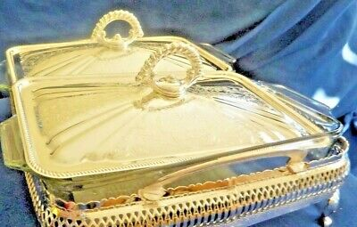 The Jewellers collection: 'QUEEN ANNE' glass SERVING DISHES w/silver plated lids