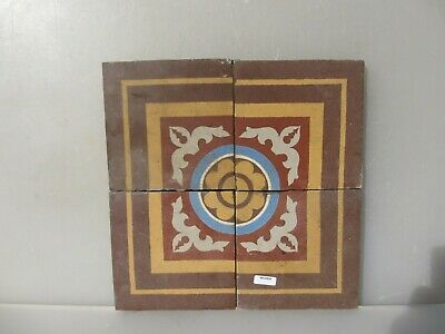 Victorian Ceramic Floor Tile Terracotta Antique 1800's Vintage Old Floral x4 Set