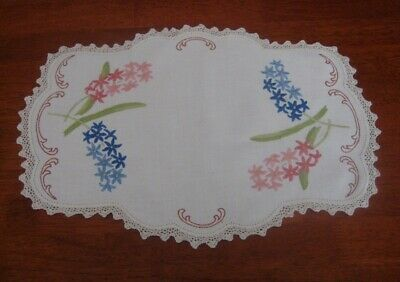 Large Vintage Hand Embroidered Table Centre Piece/doily~Pink/blue Flowers~Linen