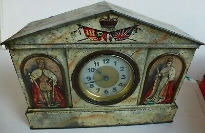 1910 King GeorgeV & Queen Mary Commemorative CLOCK TIN in style of VICTORY V TIN
