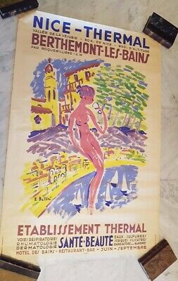 AFFICHE NICE THERMAL 1950 COTE D'AZUR BELLINI France