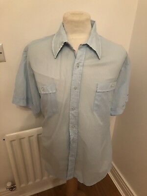 Vintage 70's Retro Blue Poly Stripe Retro Shirt Xl