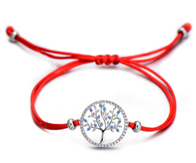 RED Bracelets For Women Men Life Tree in Middle and Border of CZ Stones