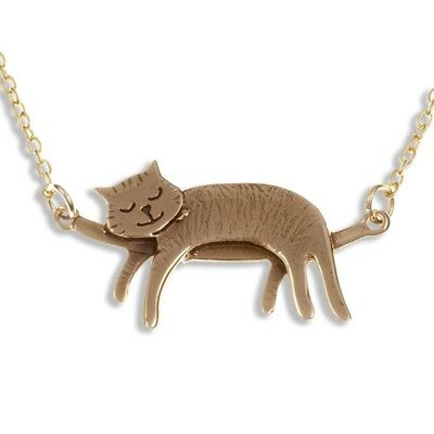 St Justin Bronze Sleeping Cat Pendant Gold Plated Necklace BZP89 UK Made
