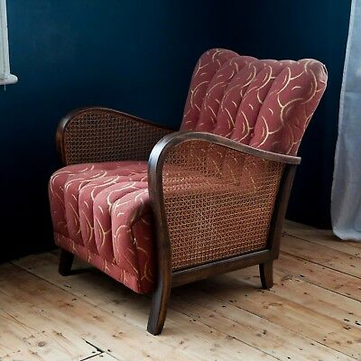 RESERVED - Vintage Scallop Backed French Armchair with Rattan Sides