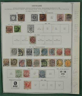 Denmark Stamps Selection Early Issues On 2 Album Pages  ( P116)