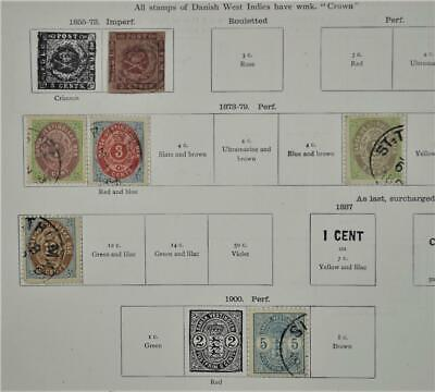 Danish West Indies Denmark Stamps Selection Early Issues On 1 Album Page ( P117)