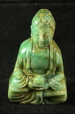 Chinese old natural jade hand-carved buddha statue pendant X2960