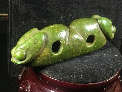 Chinese old natural jade hand-carved hongshan *double Dragon* pendant  X2975