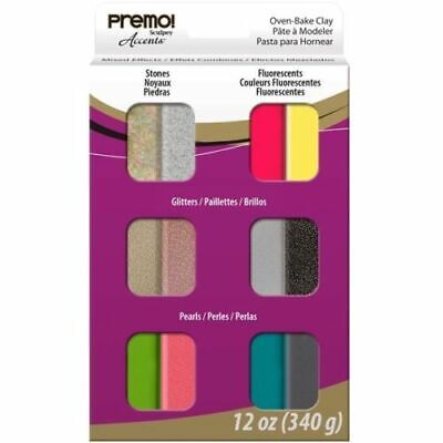 Sculpey Premo! Accents Oven Bake Polymer Clay Mixed Effects Set 12 Colours Oven