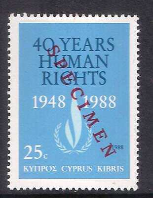 CYPRUS 1988 U.N 40th ANNI UNIVERSAL DECLARATION OF HUMAN RIGHTS Opt SPECIMEN MNH