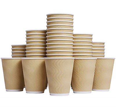 Luckypack Hot 12 oz Disposable Insulated Corrugated Sleeve Ripple Wall Paper for