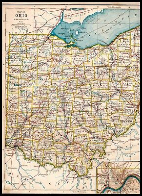 Geography Map Of Ohio.Original 1877 Color Map Of Ohio From Intermediate Geography Atlas