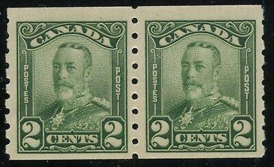 Canada 1928 KGV Scroll 2c green coil pair #161 MNH