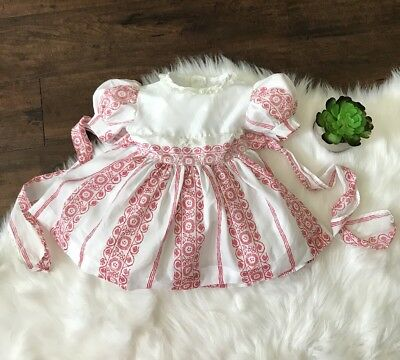 Vintage Girls Dress 2T Red White Floral Circle Skirt Lace Tie Back Semi Sheer 2