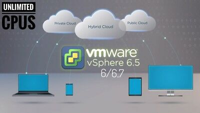 VMware ESXI vSphere Enterprise 6/6.5/ 6.7 Plus Unlimited CPUs license Key