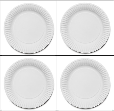 """100 WHITE PAPER PLATES - 9"""" inch (23cm) QUALITY AND DURABLE PARTY FOOD PLATES"""
