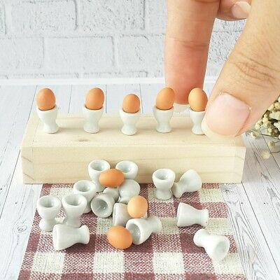 5x White Ceramic Egg Cup Dollhouse Miniature Food Supply Deco Doll Mini Tiny Lot