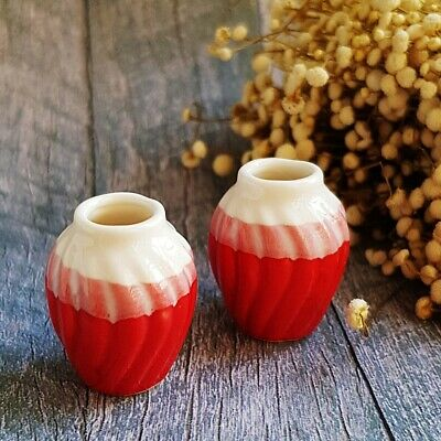 2 Ceramic White Red Vase Jar Pot Dollhouse Miniatures Fairy Garden Supply Deco