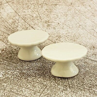 2x White Ceramic Cake Stand Bakery Display Dollhouse Miniatures Supply Accessory