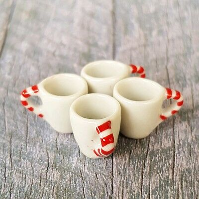 4x Christmas Ceramic Mug Cup Dollhouse Miniature Food Drink Tableware Supply Set