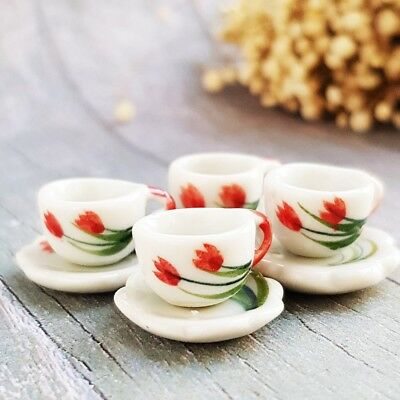 4x Ceramic Coffee Tea Cup Saucers Tulip Dollhouse Miniatures Food Drink Beverage