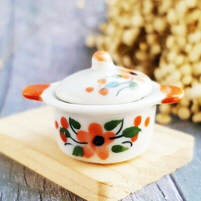 Ceramic ฺOrange Flower Pot Lid Dollhouse Miniatures Food Kitchenware Cookware