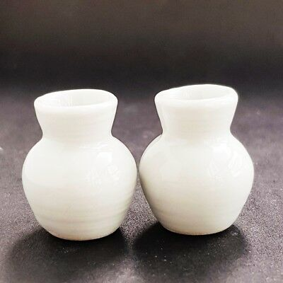 2x Ceramic White Vase Jar Pot Dollhouse Miniature Fairy Garden Flower Supply