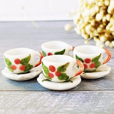 4x Christmas Paint Ceramic Coffee Tea Cup Set Saucer Dollhouse Miniatures Supply