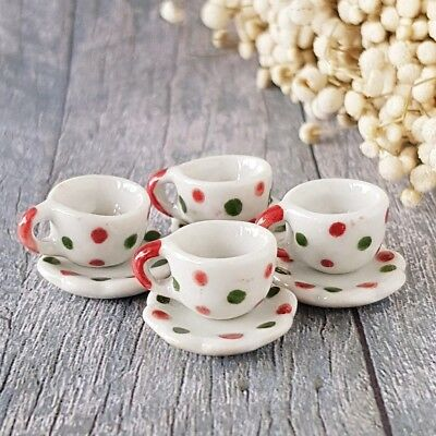4x Spot Red Green Paint Coffee Tea Cup Set Scalloped Plate Dollhouse Miniatures