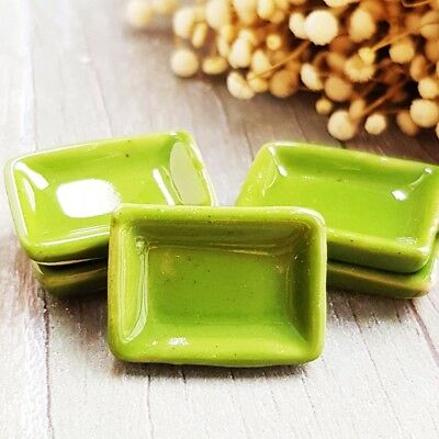 5 Green Rectangle Tray Dishes Plates Dollhouse Miniature Ceramic Kitchenware Set