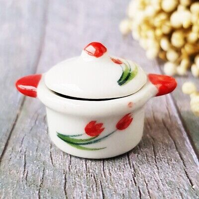 Ceramic ฺTulip Pot Lid Dollhouse Miniatures Food Kitchenware Cookware Supply Set