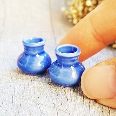 2 Mini Ceramic Blue Vase Jar Pot Dollhouse Miniature Fairy Garden Flower Supply
