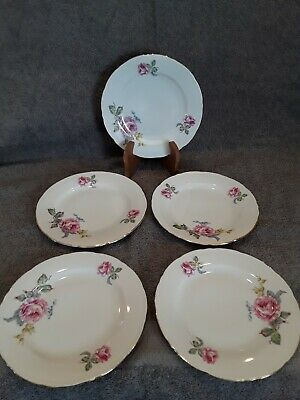 5 Fine Bohemian China Bread Plates Czechoslovakia Floral/Pink Roses
