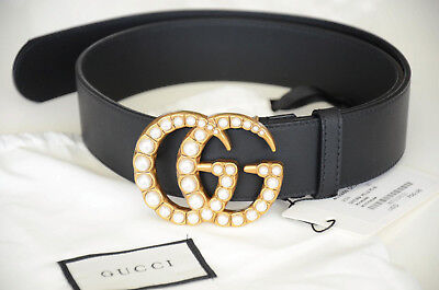 46068be0917 GUCCI BELT PEARL Gold GG Buckle Marmont Leather Black sz 85   34 fit ...