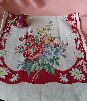 Vintage Red Blue & Yellow Floral Linen Tea Towel Very Pretty!!!