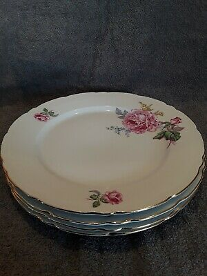 4 Fine Bohemian China Dinner Plates Czechoslovakia Floral/Pink Roses
