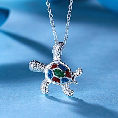 Lovely Blue Enamel Tortoise Animal Pendant Necklace Womens Jewellery Gift Party