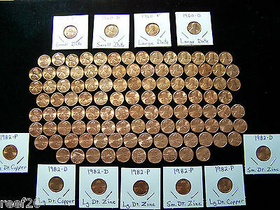 1959-2019 BU LINCOLN CENT SET * 139 PENNIES * 7- 1982's & 1960 P+D Small Dates**