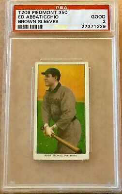1909-11 T206 White Border Ed Abbaticchio Brown Sleeves  - PSA 2 GD Awesome!
