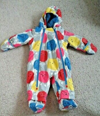 Baby Boden Owl Hooded Snowsuit All In One With Mittens 6-12 Mnths Fleece Lin New
