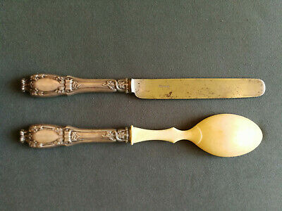 Antique Russian large size silver serving knife and spoon by Faberge